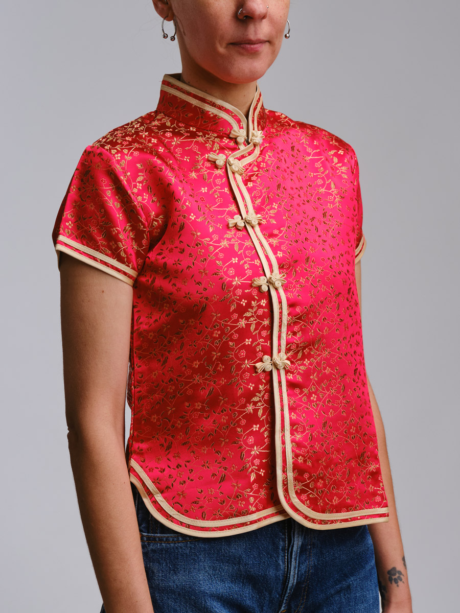 Red Quipao Vintage Top