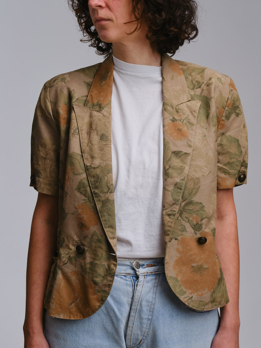 Vintage Floral Shortsleeve Blazer