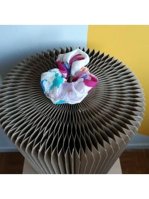 Floral, 80s fabric, handmade scrunchie