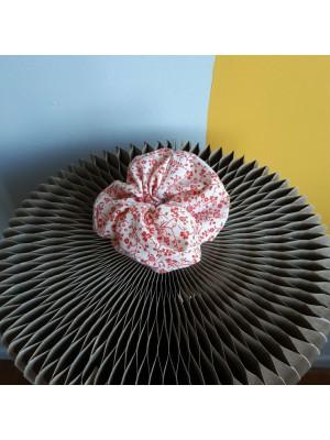 Red white, floral, handmade scrunchie