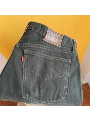 Olive, orange tab, Levis jeans