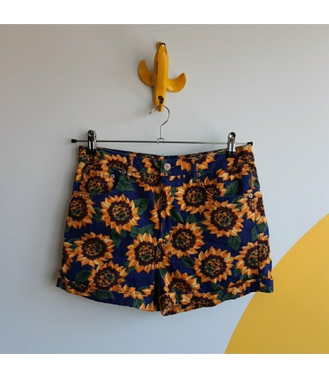 Sunflowers, denim shorts
