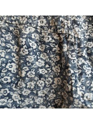 Denim, highwaisted, floral shorts