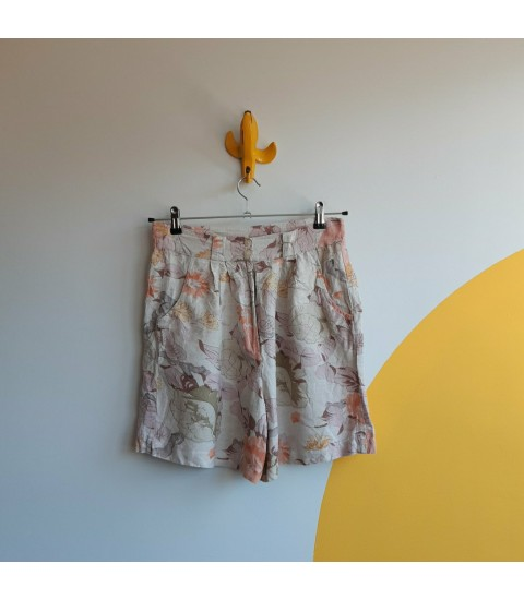 romantic floral high waisted pleated shorts