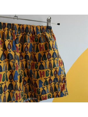 Yellow, 80s, tie design shorts
