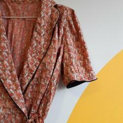 70s, wraparound, floral, midi dress