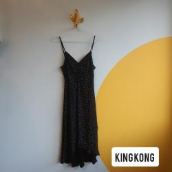 90s, elastic, black, floral, dress with asymmetrical hemline
