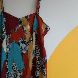 90s, maxi, viscose, multicoloured, dress with spiral design