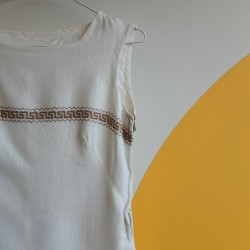 90s, mini, linen, white, embroidered dress