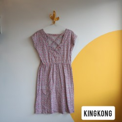 Colourfull, A-line, cotton, dress, with criss crossed,neckline