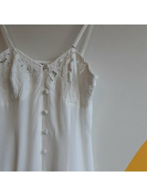 white romantic buttoned down dress with cut out details