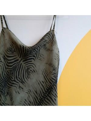 90s dark khaki animal print layered mini dress