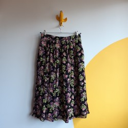 90s, floral, black, skirt