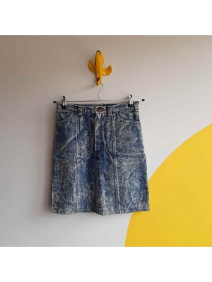 Acid wash 80s denim skirt