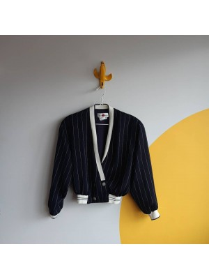 Vintage 80s cropped double breasted navy striped jacket