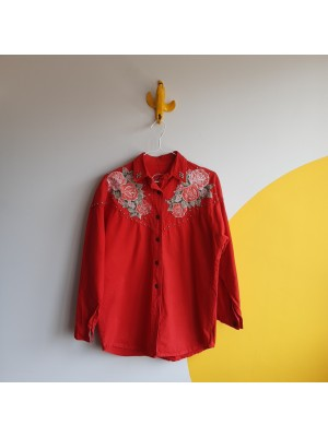 Cowgirl red denim blooming roses applique shirt with metallic details