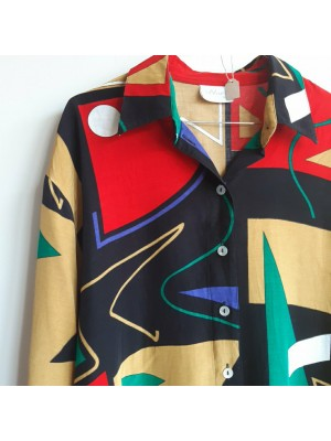 90s multicolored shirt with abstract designs