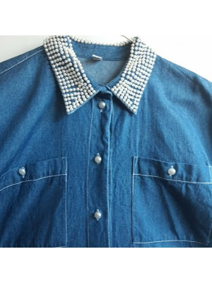 Denim shirt with pearled details
