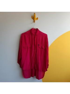 Fuchsia textured 90s shirt high low