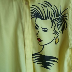 Lemon yellow, 80s, ss, buttoned down