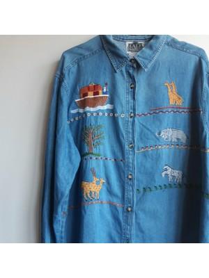 Noah's ark embroidered vintage denim shirt