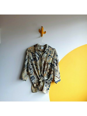 Abstract patterned shirt with elbow length sleeve