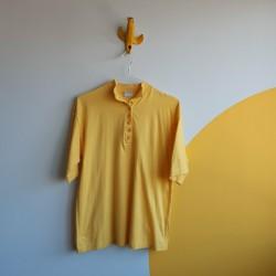 Buttoned, mock neck, cotton, tshirt