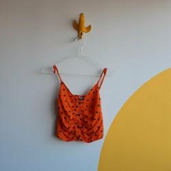 Polka dot, orange, cropped top, spaghetti straps