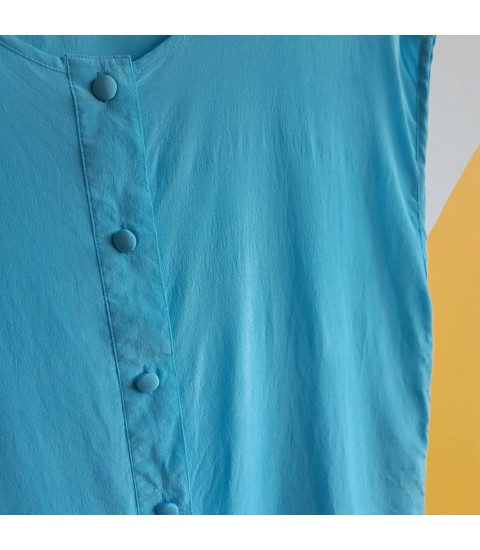 Turquoise buttoned pure silk top