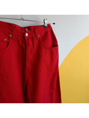 Red highwaisted denim trousers